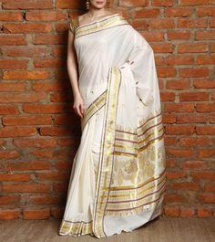 Off White & Red Kerala Saree with Kasavu Zari Work #indianroots #ethnicwear #saree #keralasaree #zariwork #occasionwear #eveningwear