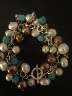 """Head pins make adding beaded dangles to bracelets easy! Artbeader """"Pearl Lady"""" paired her head pins with pearls because they fit nicely through the small holes of the pearls."""