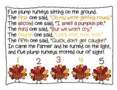 FIVE PLUMP TURKEYS - THANKSGIVING SHARED READING - TeachersPayTeachers.com Comes with ordinal number assessment. variant of the poem five little pumpkins.