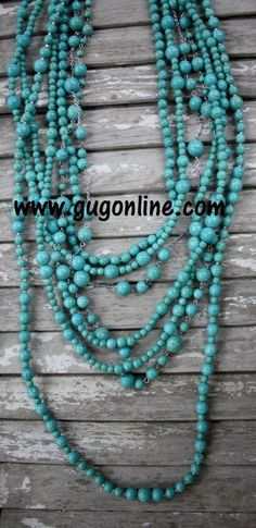 Long Multiple Strands of Turquoise Necklace $34.95 www.gugonine.com