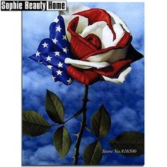Red white and blue rose art for memorial day. Betty Boop, I Love America, God Bless America, America 2, Happy 4 Of July, 4th Of July, September 11, 1 Tattoo, Collarbone Tattoo