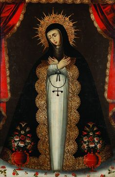 """""""Virgin of Sorrows"""", Cuzco, Peru, 18th century, oil on canvas, Frost Art Museum, MMAC Collection. Photo by Alex Garcia"""