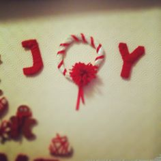 Joy christmas sign letters wool & salt dough garland Table Decoration home made
