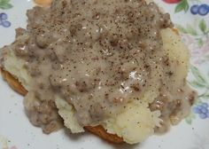 Hamburger Gravy Recipe - Genius Kitchen This is my grandmothers recipe, she was a cook in the local high school, and we used to get served this, it is simple and delicious! Hamburger Sauce, Hamburger Gravy Recipe, Hamburger Recipes, Potato Recipes, Meat Recipes, Cooking Recipes, Dinner Recipes, Skillet Recipes, Meatloaf Recipes