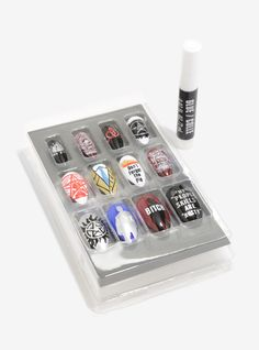 Look fierce while hunting supernatural beings with this faux nail set. Set includes 12 Supernatural themed nails, 12 solid black nails and glue. Acrylic Nail Set, Acrylic Nail Designs, Nail Art Designs, Nails Design, Glitter Nail Polish, Gel Nails, Supernatural Nails, Gothic Nail Art, Barbie Kids