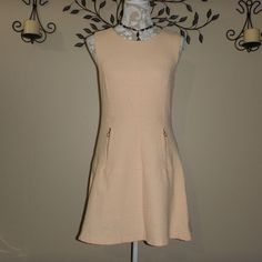 Pimkie Womens Peach Sleeveless Zipper Detail Fit and Flare Dress Size 4 #Pimkie #FitandFlare