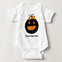 Cute Halloween pumpkin with bow Baby Bodysuit - baby gifts child new born gift idea diy cyo special unique design