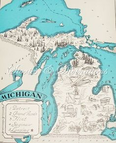 Michigan Vintage Map - Aqua - Beach Decor - Cottage Chic - A Fun and Funky 1930s Vintage Michigan Picture Map to Frame. $21.00, via Etsy.