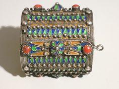 Vintage Kabyle bracelet from Algeria.  Silver, enamel and coral.