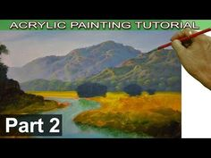 Acrylic Landscape Painting Tutorial on Bigger Canvas | How to Paint Mountains | Part 2 by JMLisondra - YouTube