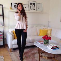 Mimi Ikonn | Peplum cardigan, black skinny jeans, black ankle boots