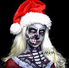 "Pinner Wrote ""Here I am as a popart inspired Zombie Mrs. Christmas Makeup Look, Holiday Makeup Looks, Winter Makeup, Pop Art Makeup, Crazy Makeup, Makeup Style, Amazing Halloween Makeup, Amazing Makeup, Pop Art Face"