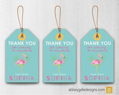 Printable Flamingo Party Favour Tags, Personalised Party Tags, Flamingo Birthday Thank You Tags, Flamingo Birthday Party Favor Tag