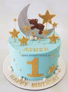 Moon and stars theme birthday cake for boy by Sweet Mantra - Customized c. Birthday Cake Kids Boys, Twin Birthday Cakes, Cute Birthday Cakes, Beautiful Birthday Cakes, Male Birthday, 20th Birthday, Baby Cake Design, Cake Designs For Kids, Kolaci I Torte