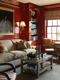 Room of the Day ~ love rich red lacquered walls, brass details, lamps, carpet, window treatment in cozy room by Nancy Boszhardt. 11.11.2013