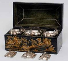 Maker Unknown - Box Containing Three Tea Caddies and Covers // - Maria Elena Garcia -  ► www.pinterest.com/megardel/ ◀︎