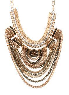 embellished chain bib necklace $40.90