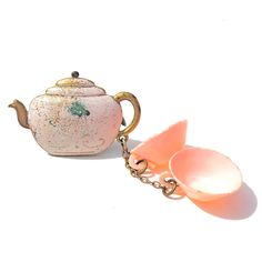 Enamel Brooch CELLULOID Brooch or Vintage Plastic TEACUPS TEAPOT
