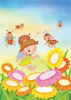 Porque los domingos inspiran a llenar las plazas de niños...porque ahora que viene el buen tiempo,parece que brotaran como las flores...porq... Baby Set, Drawing For Kids, Art For Kids, Certificate Background, Plant Painting, Summer Art, Paper Piecing, Classroom Decor, Illustration