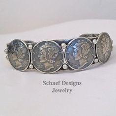 Native American Old Coin Mercury dime cuff bracelet   Schaef Designs
