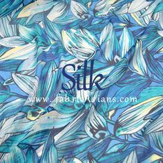 SILK  Lily Chiffon. Blue Print Chiffon. Blue Silk by fabricAsians