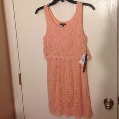Peach party dress BRAND NEW! Brand new never worn peach party dress. Lace. So pretty! As You Wish Dresses