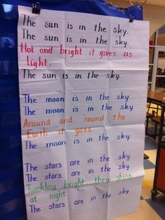 space song.. sing to farmer in the dell tune. Could add a verse - the planets are in the sky, round & round the sun they go