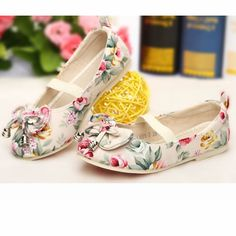 Ivory Floral Canvas Mary Jane Flower Pageant Girl Girls Party Shoes Buy SKU-133227
