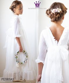 Todo Comunión 2019 :Trajes, Vestidos y Peinados - Fashion Trends 2020 Modadiaria 每日时尚趋势 2020 时尚 Première Communion, Holy Communion Dresses, Blush Flower Girl Dresses, Little Girl Dresses, Communion Hairstyles, Birthday Fashion, Girl Christening, Flower Girl Hairstyles, Special Dresses