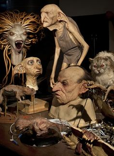 Harry Potter behind the scenes. Whoa!! Dobby and Kreacher are the best! Dumbledore's pet phoenix as it rises from the ashes, Peter Pettigrew in rat form! The monster book =) so awesome.
