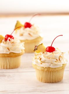 Take a bite out of tropical paradise with these cocktail-inspired cupcakes. Top with a homemade coconut-cream cheese frosting.