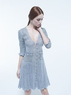 "Photo from album ""Vanessa Montoro"" on Yandex. Vanessa Montoro, Pull Crochet, Mode Crochet, Crochet Lace, Blouse Dress, Knit Dress, Dress Skirt, Knitwear Fashion, Knit Fashion"