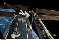 Columbus: Celebrating 10 Years of Science on Station:    NASA astronaut Rex Walheim works outside Europe's new Columbus lab module shortly after it was installed in February 2008.