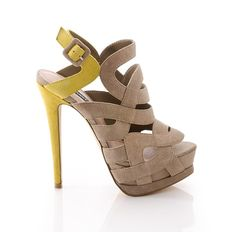 Taupe & Yellow Heel