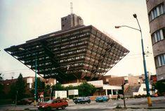 Slovak Radio Building in Bratislava. This inverted pyramid was designed by Štefan Svetko, Štefan Ďurkovič and Barnabáš Kissling and it was completed in Architecture Constructiviste, Constructivism Architecture, Russian Architecture, Futuristic Architecture, Amazing Architecture, Interesting Buildings, Amazing Buildings, Building Art, Building Design
