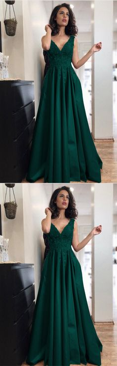 Emerald Green Satin Long A-line V-neck Prom Dress Lace Appliques Evening Gowns For Bridal Party
