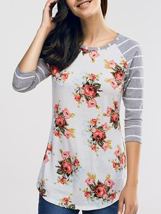 Floral and Striped Raglan Sleeve T-Shirt