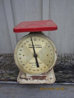 Vintage American Family Dietary Kitchen scale 25 lbs White metal enamel red shabby chippy by countrybarn for $24.99
