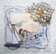 Blog van de webwinkel www.kreatrends.nl met inspiratie voor kaarten maken, scrappen, mixed media en home decor. Nautical Cards, Nautical Theme, Marianne Design Cards, Seaside Theme, Beach Cards, Beach Scenes, Masculine Cards, Scrapbooking Layouts, Handmade Cards