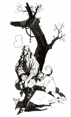 Perhaps from one of the Hellboy prose novels? Comic Art Community GALLERY OF COMIC ART Comic Book Artists, Comic Artist, Comic Books Art, Hellboy Tattoo, Mike Mignola Art, Comic Art Community, Comic Kunst, Shadow Art, Robot Art