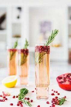 Pomegranate Rosemary Spritzer : Holiday Party Drink