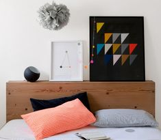 Block style wooden headboard with side compartments. Lots of hidden storage space.