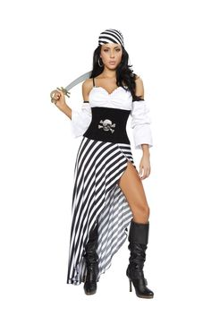 Roma Costume 4244 Pirate Lass Women's Costume Includes High Slit Striped Skirt, Waist Cincher with Rhinestone Skull & Bone Brooch, Crop Top with Rhinestone Buckles, Headband, & Sword Color: Black/Whit