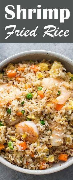 Classic Shrimp Fried Rice! with fresh shrimp, rice, green onions, peas, carrots, and sesame oil. Tips for making the BEST fried rice!
