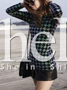 Green Black Long Sleeve Backless Sequined Blouse 19.99