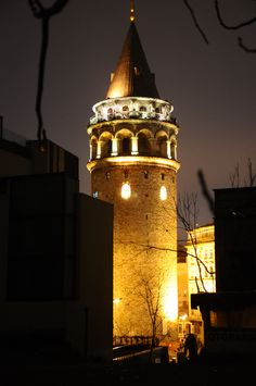 Galata Tower at Night - The Galata Tower (Galata Kulesi in Turkish) — called Christea Turris (the Tower of Christ in Latin) by the Genoese — is a medieval stone tower in the Galata district of Istanbul, Turkey, just to the north of the Golden Horn. One of the city's most striking landmarks, it is a high, cone-capped cylinder that dominates the skyline and affords a panoramic vista of Old Istanbul and its environs.