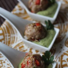 Southwest Meatballs with Creamy Cilantro Dipping Sauce Recipe Appetizers with ground turkey, purple onion, red bell pepper, garlic cloves, jalapeno chilies, cumin, chili powder, smoked paprika, salt, pepper, avocado, cilantro, lime, lemon juice, jalapeno chilies, cayenne pepper, cumin, salt, mayonnaise