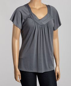 Another great find on #zulily! Gray Pleated V-Neck Top - Plus #zulilyfinds