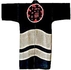 鳶半纏、刺子  Japanese Firemen's Hppi Coat   Sashiko Stitched Hanten
