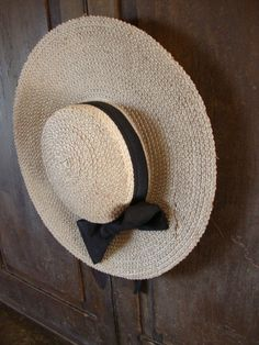 096261c2e5e EARLY ANTIQUE PRIMITIVE OLD WOMANS WOVEN STRAW GARDEN HAT WALL HANGER AAFA  Period Outfit